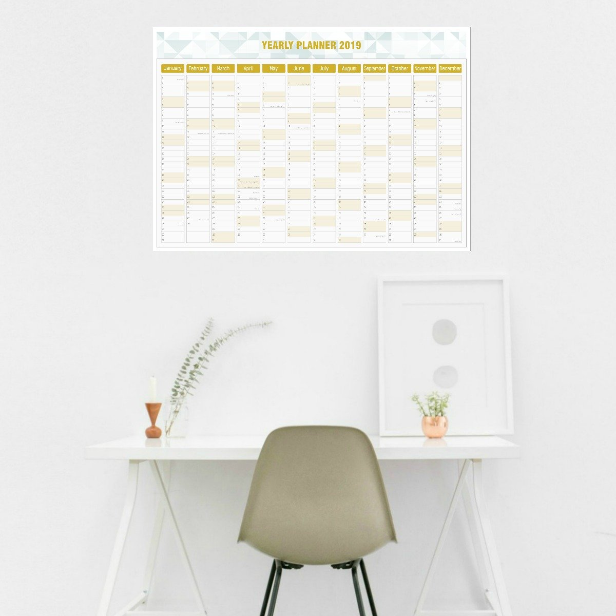 2019 Yearly Planner Gold Hatched Designs